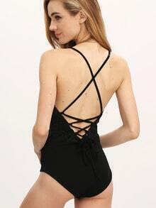 Black Deep V Neck Lace Up Back Bodysuit