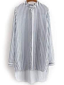 Blue White Dip Hem Vertical Stripe Blouse
