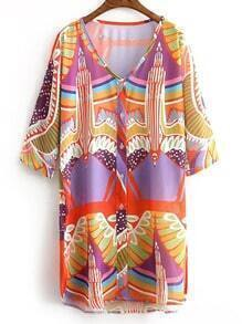 Multicolor V Neck Eagle Print Dress