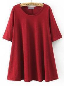 Red Round Neck Split Loose T-Shirt