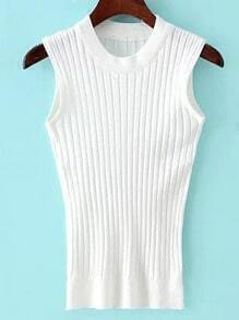 White Crew Neck Rib Slim Sweater Tank