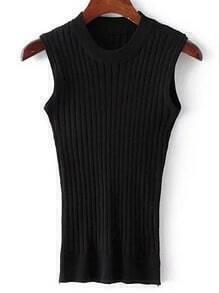 Black Crew Neck Rib Slim Sweater Tank