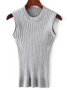 Grey Crew Neck Rib Slim Sweater Tank