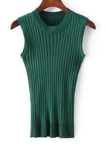 Green Crew Neck Rib Slim Sweater Tank