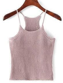 Pink Spaghetti Strap Rib Sweater Cami