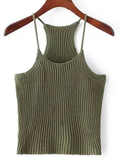 Green Spaghetti Strap Rib Sweater Cami