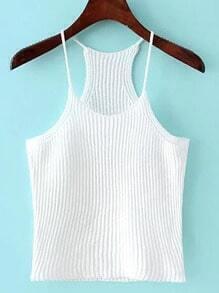 White Spaghetti Strap Rib Sweater Cami