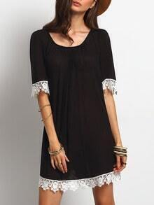 Black Round Neck Crochet Trim Shift Dress