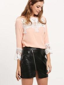 Pink Crochet Contrast Keyhole Back Blouse