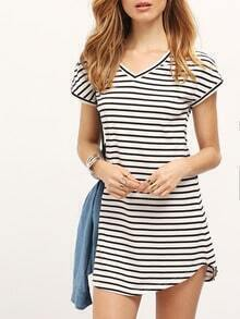 Black White Stripe V Neck Casual Dress