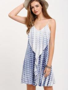 Blue White Ruffle Spaghetti Strap Dress