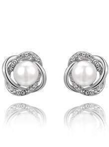Silver Crystal Pearl Twining Earrings