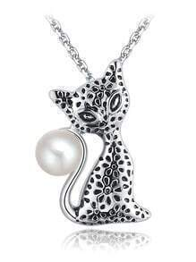 Silver Pearl Cat Chain Necklace