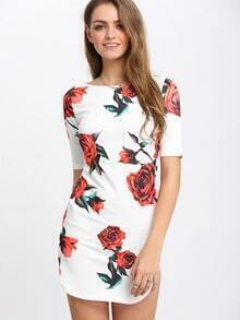 White Dolphin Hem Floral Print Sheath Dress