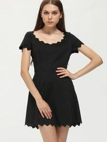 Black Sawtooth Trim Scoop Neck Dress