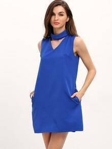 Blue Mock Neck V Front Zipper Back Shift Dress