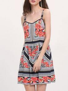 Multicolor Vintage Print Square Neck Strap Dress