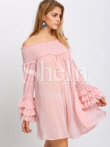 Pink Off Shoulder Smock Ruffles Shift Dress