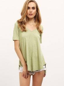 Green V Neck Dip Hem Loose T-shirt