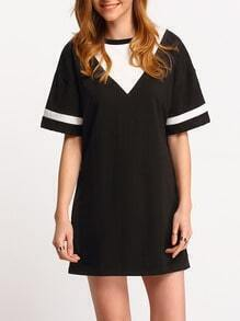 Colour-block Short Sleeve Loose Tee Dress