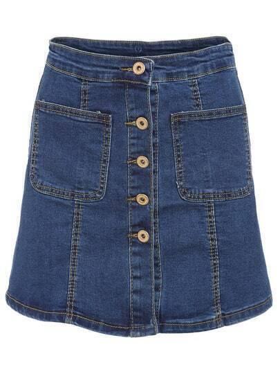 Navy Pockets Buttons Denim Skirt