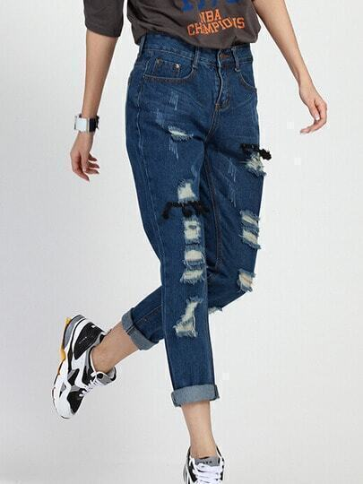 Navy Pockets Ripped Tassel Denim Pant