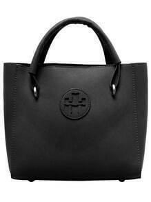 Black PU Two Pieces Tote Bag