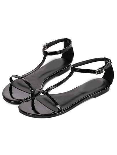 Black Buckle Flat Sandals