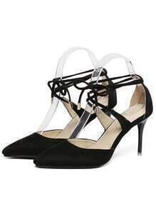 Black Stiletto High Heel Point Toe Pumps