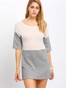 Apricot Grey Contrast Boat Neck T-shirt Dress