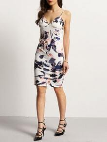 Elegant Floral Print Zipper Back Spaghetti Strap Dress
