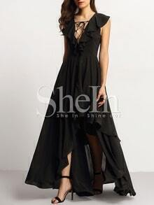 Black Ruffle Lace Up Front High Low Maxi Dress