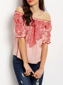 Pink Off The Shoulder Puff Sleeve Embroidered Blouse