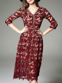 Burgundy V Neck Backless Crochet Hollow Out Dress