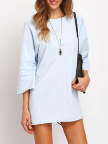 Blue Round Neck Loose Tee Dress