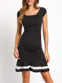 Black Cap Sleeve Slim Fishtail Dress