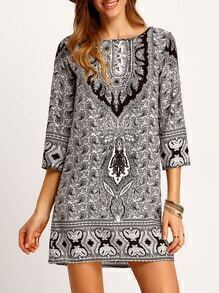 Black White Tribal Print Loose Dress