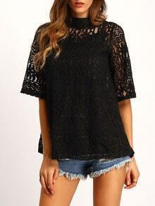 Black Crew Neck Lace Loose Blouse