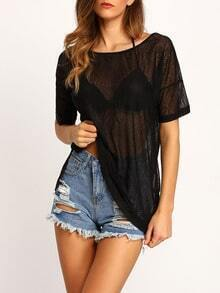 Black Short Sleeve Sheer Loose Blouse