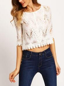 White Half Sleeve Hollow Lace Crop Top