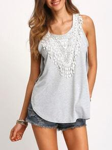 Grey Round Neck Lace Loose Tank Top