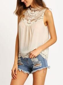 Apricot Crochet Lace Loose Tank Top