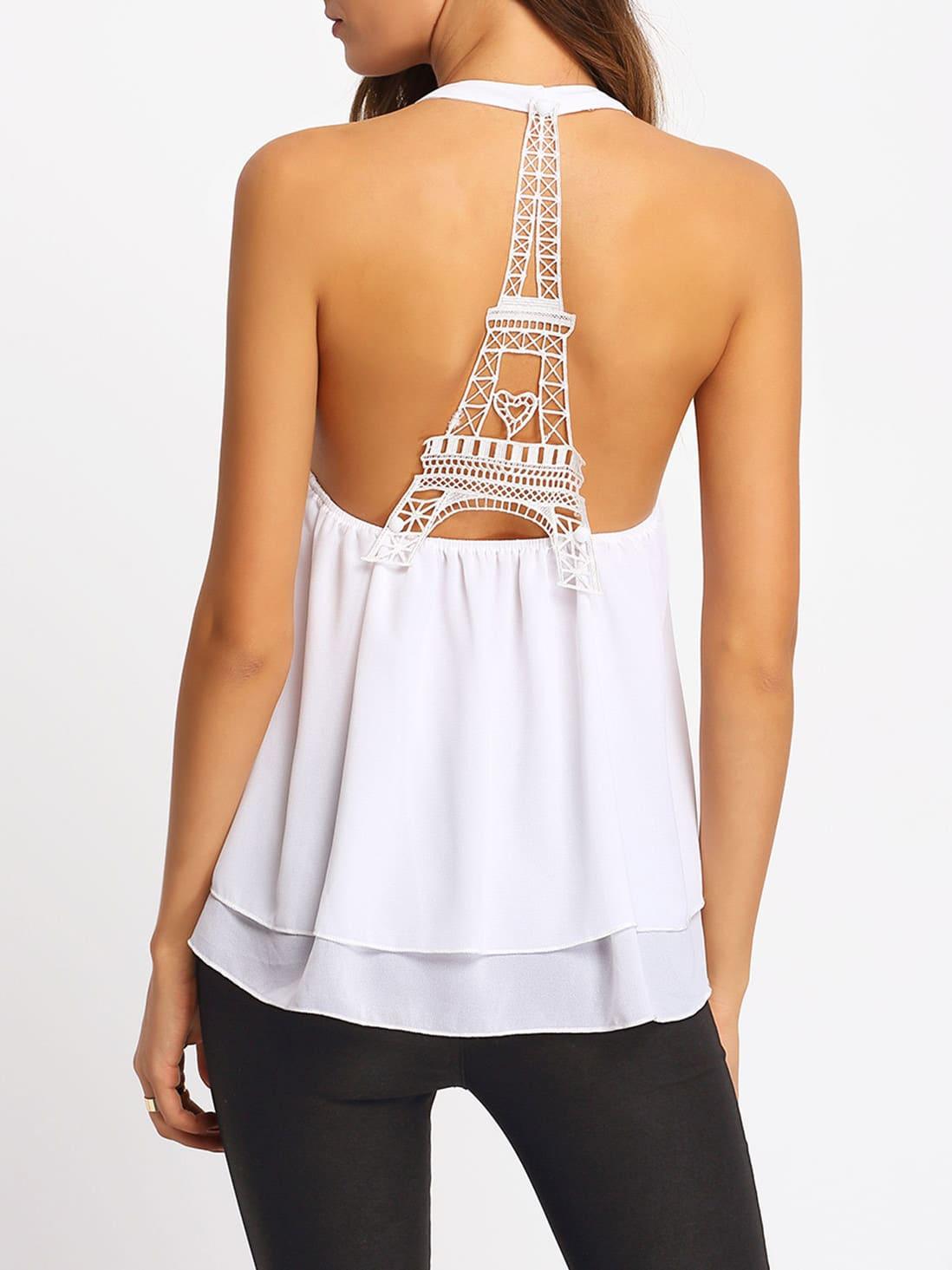Фото White Backless Lace Chiffon Tank Top. Купить с доставкой