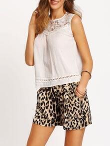 Leopard Elastic Waist Straight Shorts