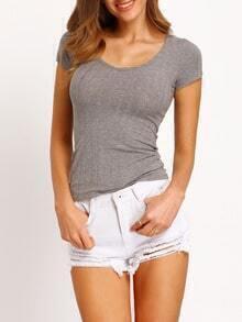 Grey Short Sleeve Skinny Knitwear