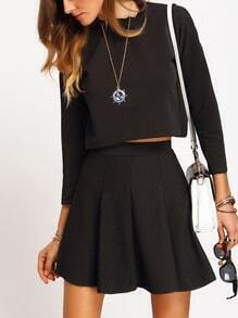 Black Crew Neck Crop Blouse With Skirt