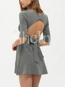 Grey Scoop Neck Tie-Waist Bow Back Half Sleeve Dress