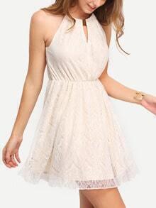 Beige Metal Choker Keyhole Front Lace Dress