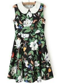 Multicolor Polo Collar Sleeveless Floral Dress