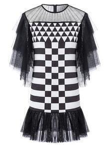 Black White Sheer Mesh Geometric Print Dress